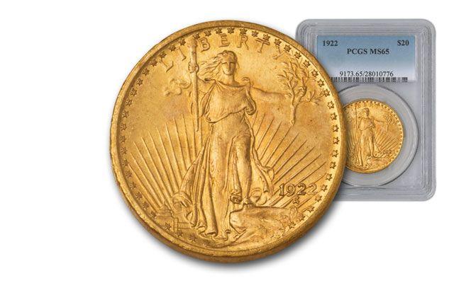 1922-P 20 Dollar Saint-Gaudens PCGS MS65