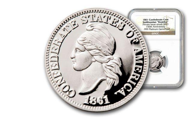 1861 Platinum Confederate Cent NGC GEM PR with Box