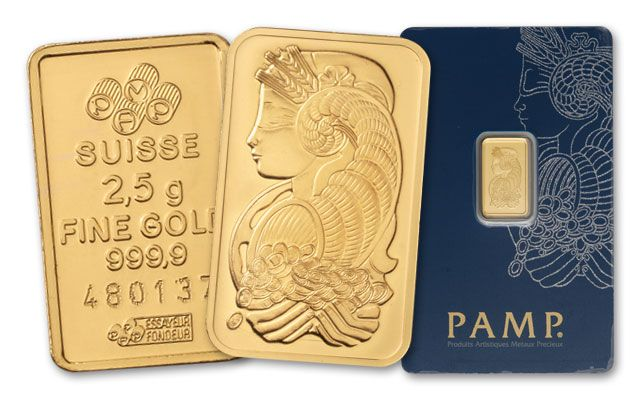 Pamp Suisse 2.5 Gram Gold Bar in Assay Card