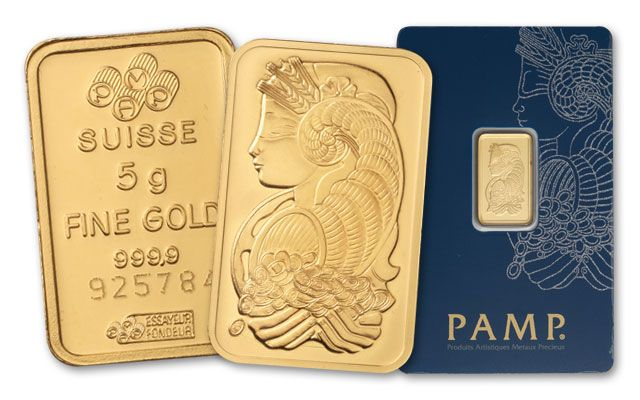 Pamp Suisse 5 Gram Gold Bar in Assay Card