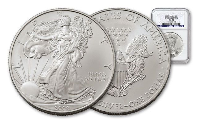 2009 1 Dollar 1-oz Silver Eagle NGC MS70 Early Releases