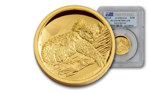 2012 Australia 1-oz Gold Koala High Relief Proof PCGS PR70 First Strike