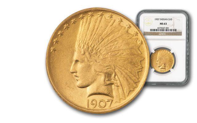 1907 10 Dollar Gold Indian NGC MS63