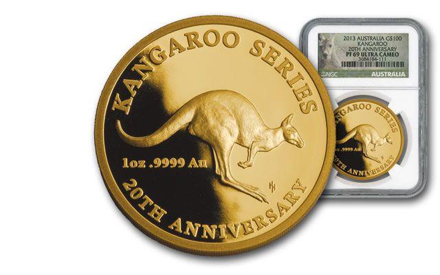 2013 Australia 1-oz Gold Kangaroo 20th Anniv. NGC PF69