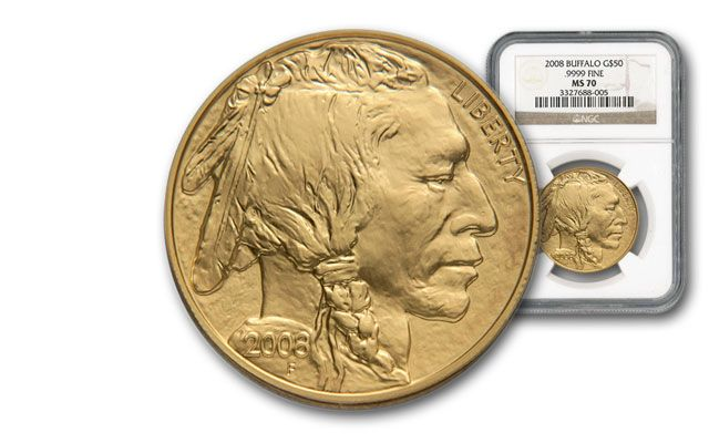 2008 50 Dollar 1-oz Gold Buffalo NGC MS70