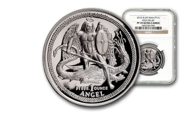 2010 Isle of Man 1-oz Platinum Angel High Relief NGC PF70