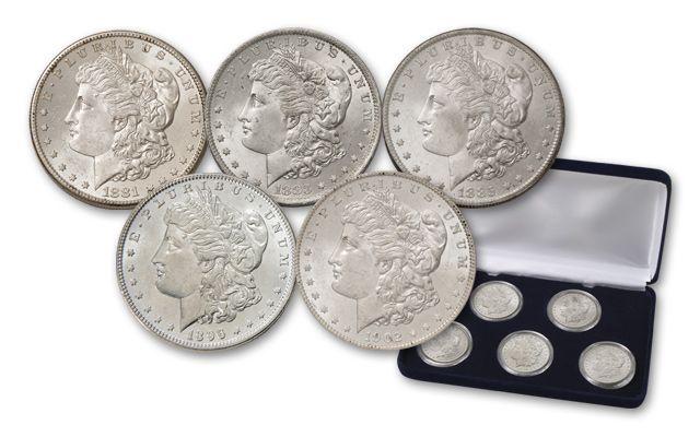 Morgan Silver Dollar Treasury Hoard Tribute BU - 5 Pieces