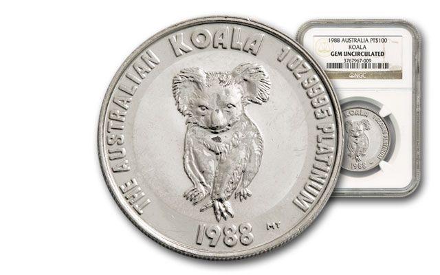 1988 Australia 1-oz Platinum Koala NGC GEM