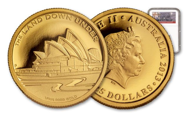 2013 Australia 1/4-oz Gold Sydney Opera House First Struck NGC PF70