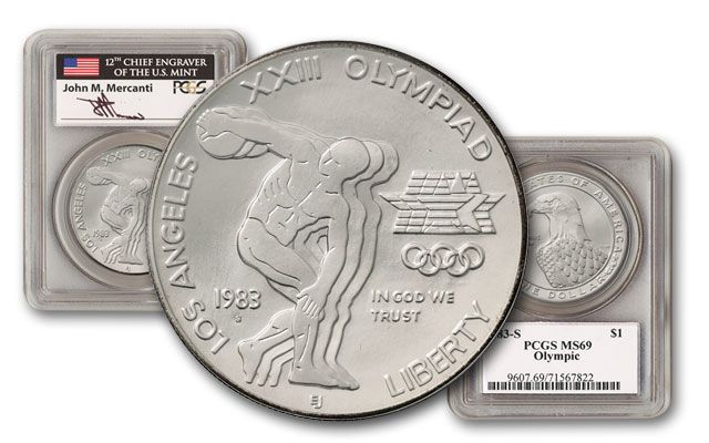 1983-S 1 Dollar Silver Olympic Discus Thrower PCGS MS69 Mercanti Signed