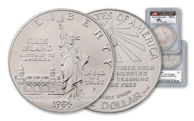 1986-P Statue of Liberty Silver Dollar Commemorative MS69
