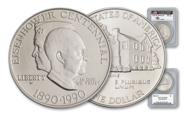 1990 1 Dollar Eisenhower Mercanti Signed Commemorative MS69