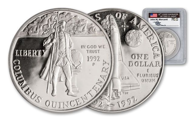 1992-P Columbus Quincentenary Silver Dollar PCGS PR69DCAM Mercanti