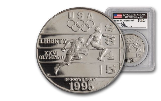 1995-P 1 Dollar Olympic Track and Field PCGS PR69 Mercanti Signed
