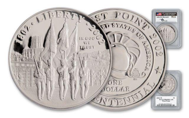 2002-W Silver Dollar Mercanti Signed Commemorative PR69