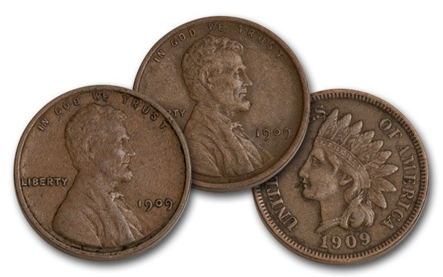 1909 1 Cent Indian Head & Lincoln VDB XF 3 pc Set