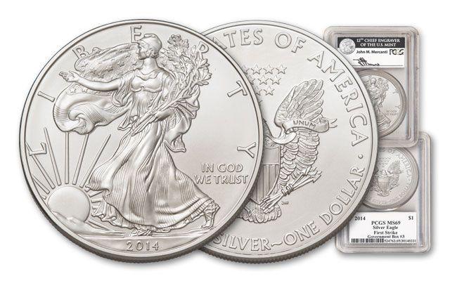 2014 1 Dollar 1-oz Silver Eagle PCGS MS69FR Box 3 Mercanti