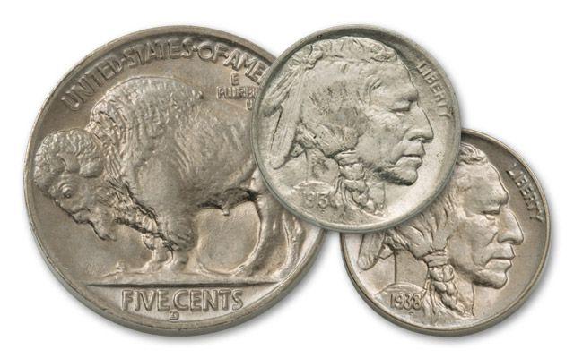2pc 1913-1938 5 Cent Buffalo BU Set