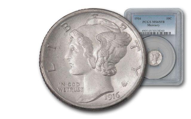 1916-P Mercury Dime PCGS MS65FB