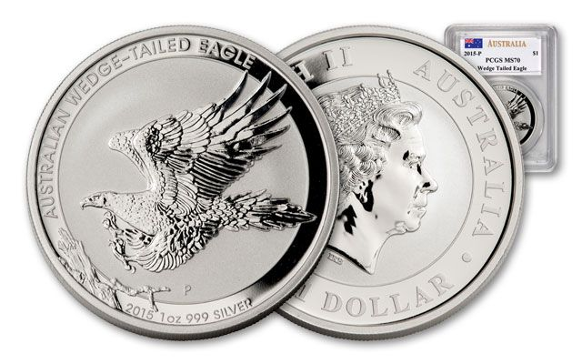 2015 Australia 1-oz Silver Wedge Tailed Eagle PCGS MS70