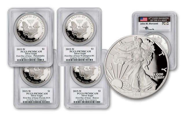 2015-W 1 Dollar 1-oz Silver Eagle Proof 4pc Set PCGS PR70DCAM Mercanti Signed FDI