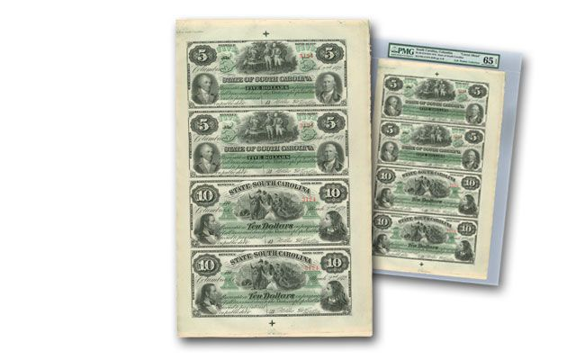 1872 5/10 Dollar Uncut SC Notes Sheet of 4 PMG 65EPQ