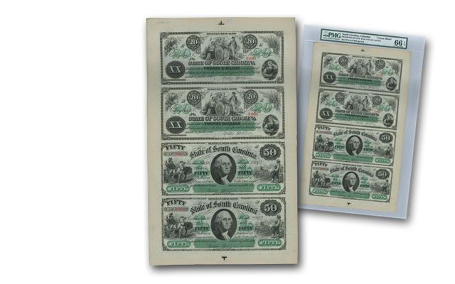 1872 20/50 Dollar Uncut SC Notes Sheet of 4 PMG 66EPQ