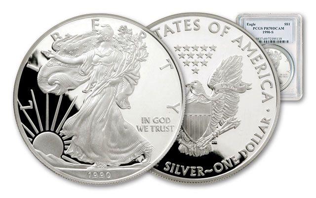 1990 1 Dollar 1-oz Silver Eagle NGC/PCGS Proof 70