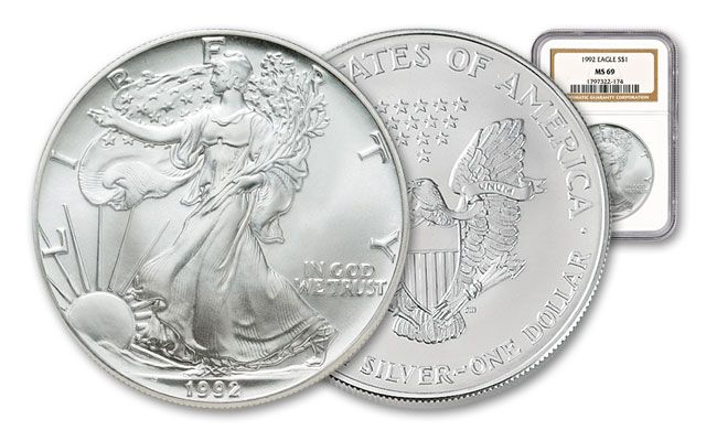 1992 1 Dollar 1-oz Silver Eagle NGC/PCGS MS69