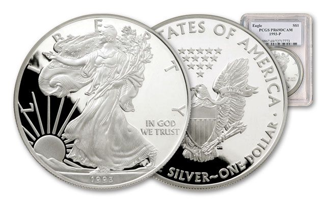 1993 1 Dollar 1-oz Silver Eagle NGC/PCGS Proof 69