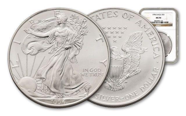 1996 1 Dollar 1-oz Silver Eagle NGC/PCGS MS70