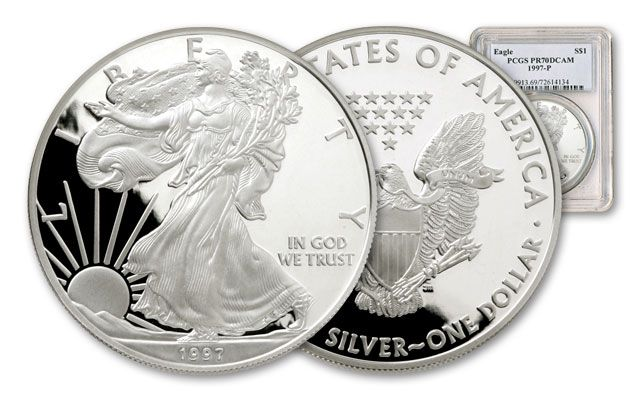 1997 1 Dollar 1-oz Silver Eagle NGC/PCGS Proof 70