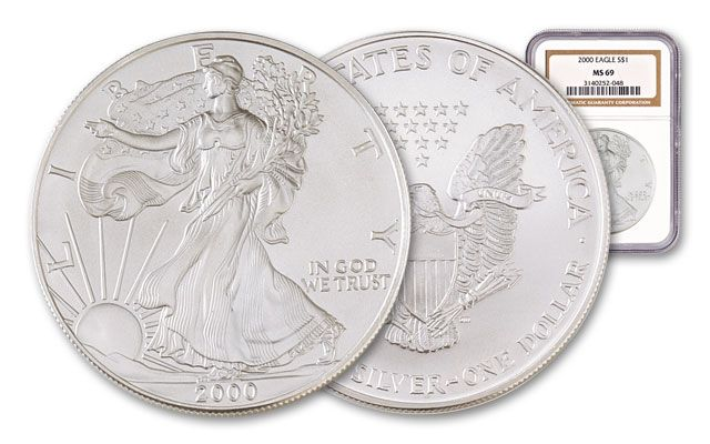 2000 1 Dollar Silver Eagle NGC/PCGS MS69