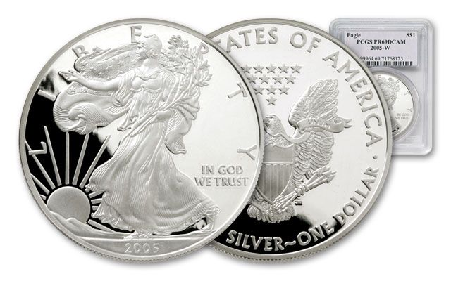 2005 1 Dollar Silver Eagle NGC/PCGS Proof 69