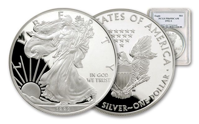 1992 1 Dollar 1-oz Silver Eagle NGC/PCGS Proof 69