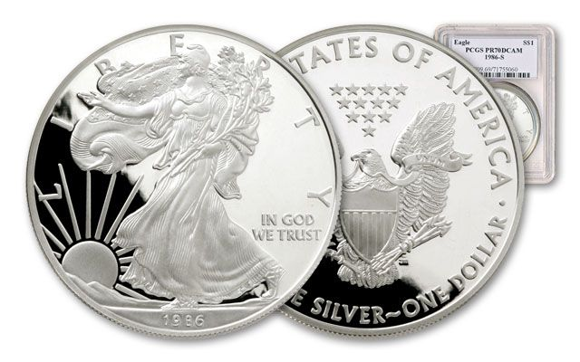 1986-S 1 Dollar 1-oz Silver Eagle NGC/PCGS Proof 70 DCAM