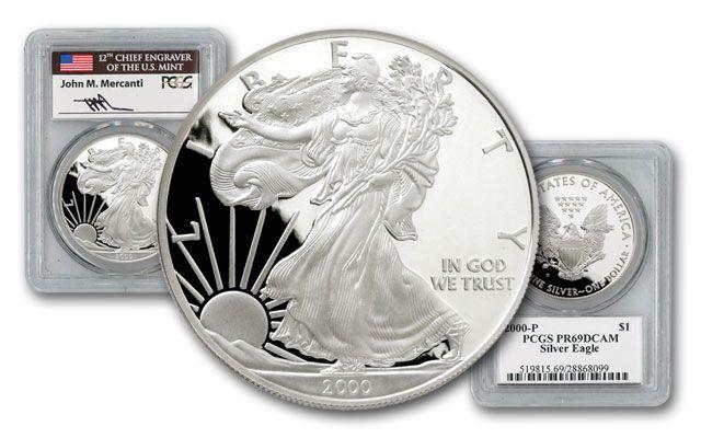 2000 1 Dollar 1-oz Silver Eagle PCGS PR69 Mercanti Signed