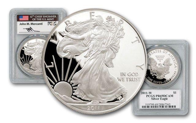 2011 1 Dollar 1-oz Silver Eagle PCGS PR69 Mercanti Signed