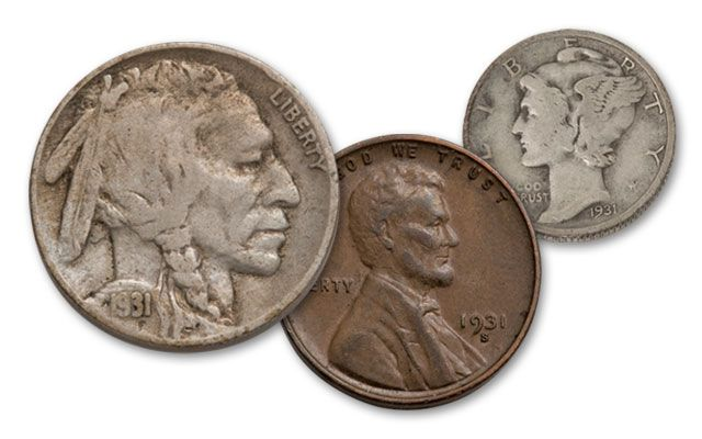 1931-S Cent Nickel Dime Collection X-XF 3pc