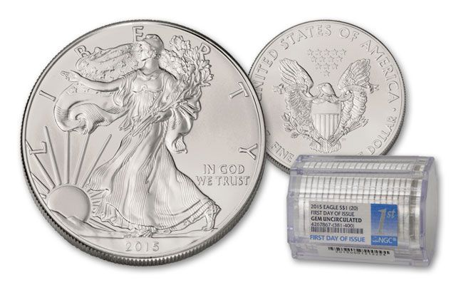2015 1 Dollar Silver Eagle NGC BU First Day of Issue Roll 20pc