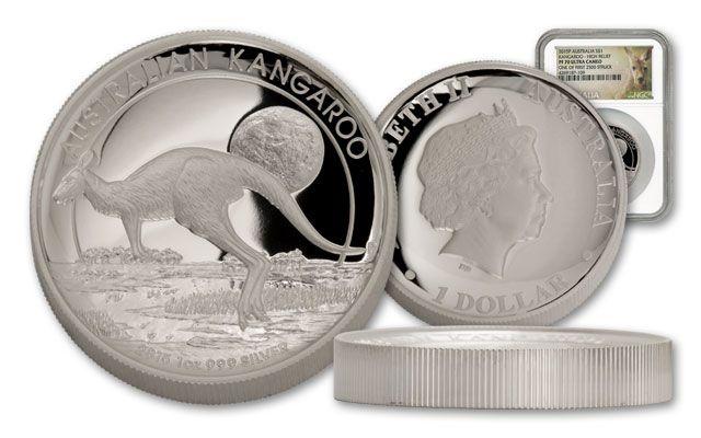 2015 Australia 1-oz Silver Kangaroo High Relief NGC PF70UCAM First Struck