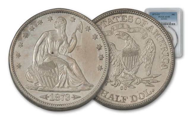1873-CC 50 Cent Silver Seated Liberty Arrows PCGS AU55