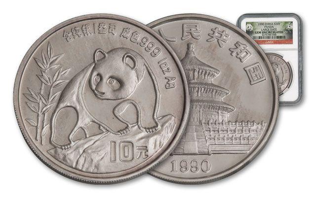 1990 China 1-oz Silver Panda NGC GEM BU - Large Date