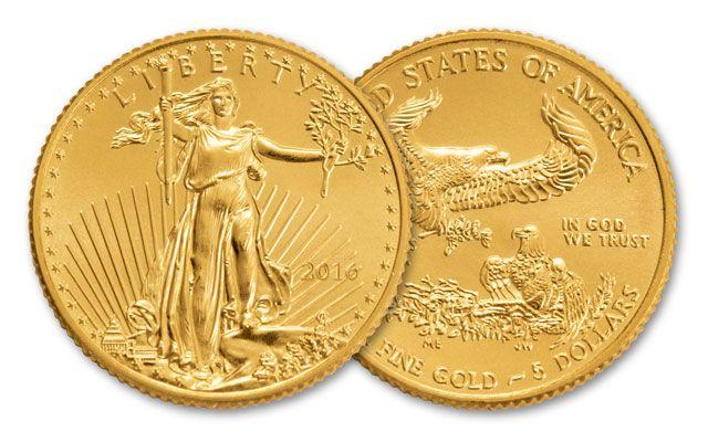 2016 5 Dollar 1/10-oz Gold Eagle BU