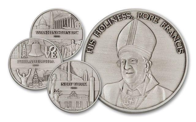 2015 5-oz Silver Pope Francis I U.S. Tour 3pc Set