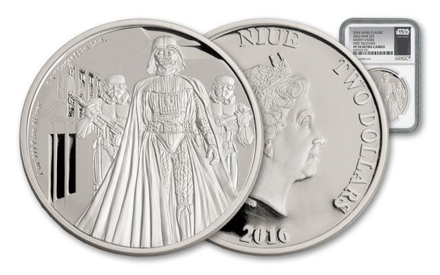2016 Niue 2 Dollar 1-oz Silver Star Wars Darth Vader NGC PF70UCAM