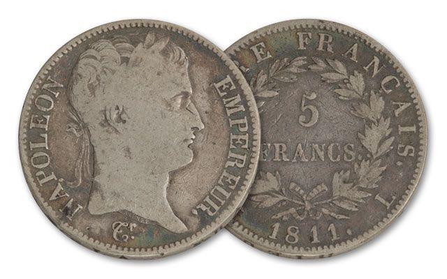 1804-1814 France 5 Franc Silver Napoleon VG