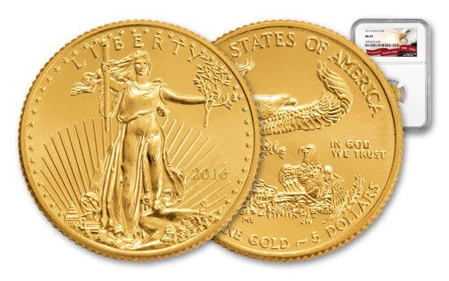 2016 5 Dollar 1/10-oz Gold Eagle  MS69