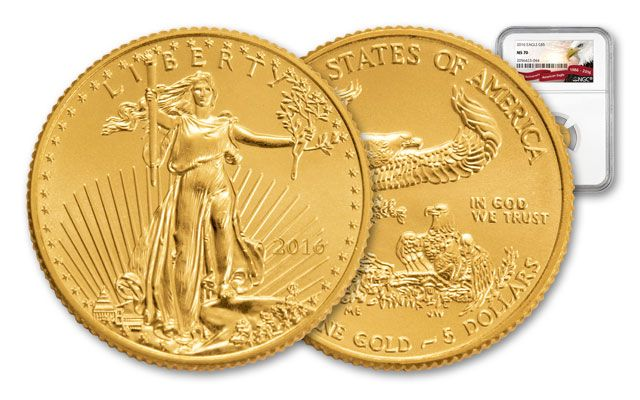 2016 5 Dollar 1/10-oz Gold Eagle NGC MS70