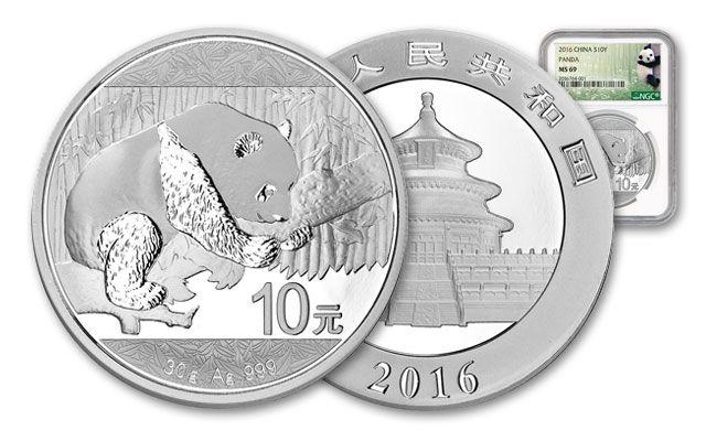 2016 China 30-Gram Silver Panda NGC MS69